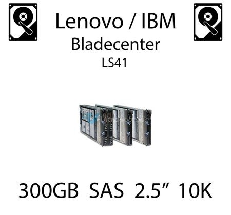 """300GB 2.5"""" dedykowany dysk serwerowy SAS do serwera Lenovo / IBM Bladecenter LS41, HDD Enterprise 10k, 600MB/s - 90Y8877"""