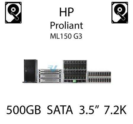 """500GB 3.5"""" dedykowany dysk serwerowy SATA do serwera HP ProLiant ML150 G3, HDD Enterprise 7.2k, 300MB/s - 459319-001 (REF)"""