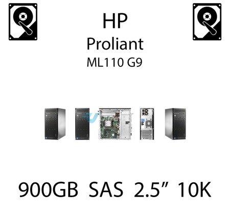 """900GB 2.5"""" dedykowany dysk serwerowy SAS do serwera HP ProLiant ML110 G9, HDD Enterprise 10k, 6Gbps - 652589-B21 (REF)"""